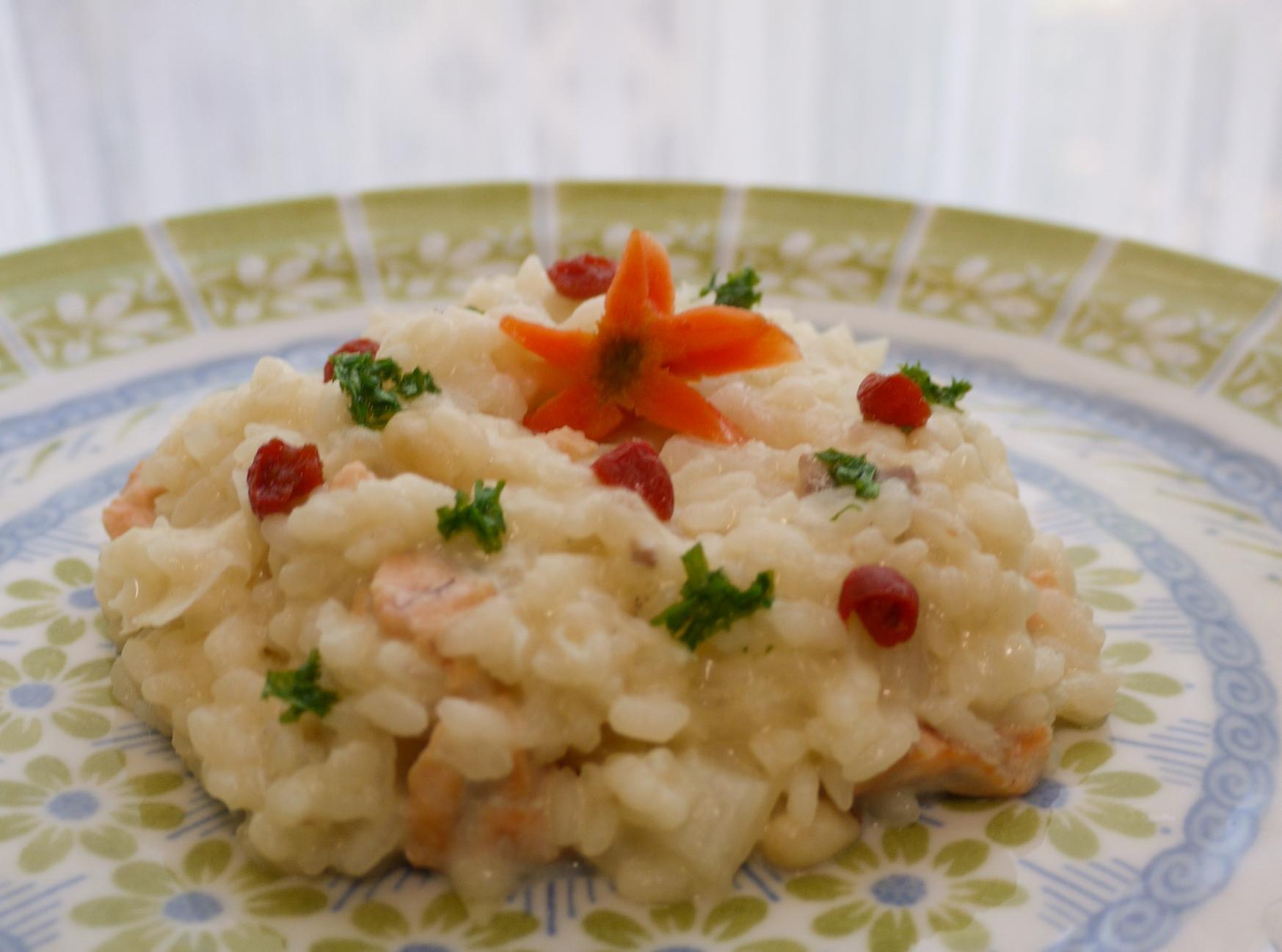 鮭と白いナイツの潤いリゾットです。