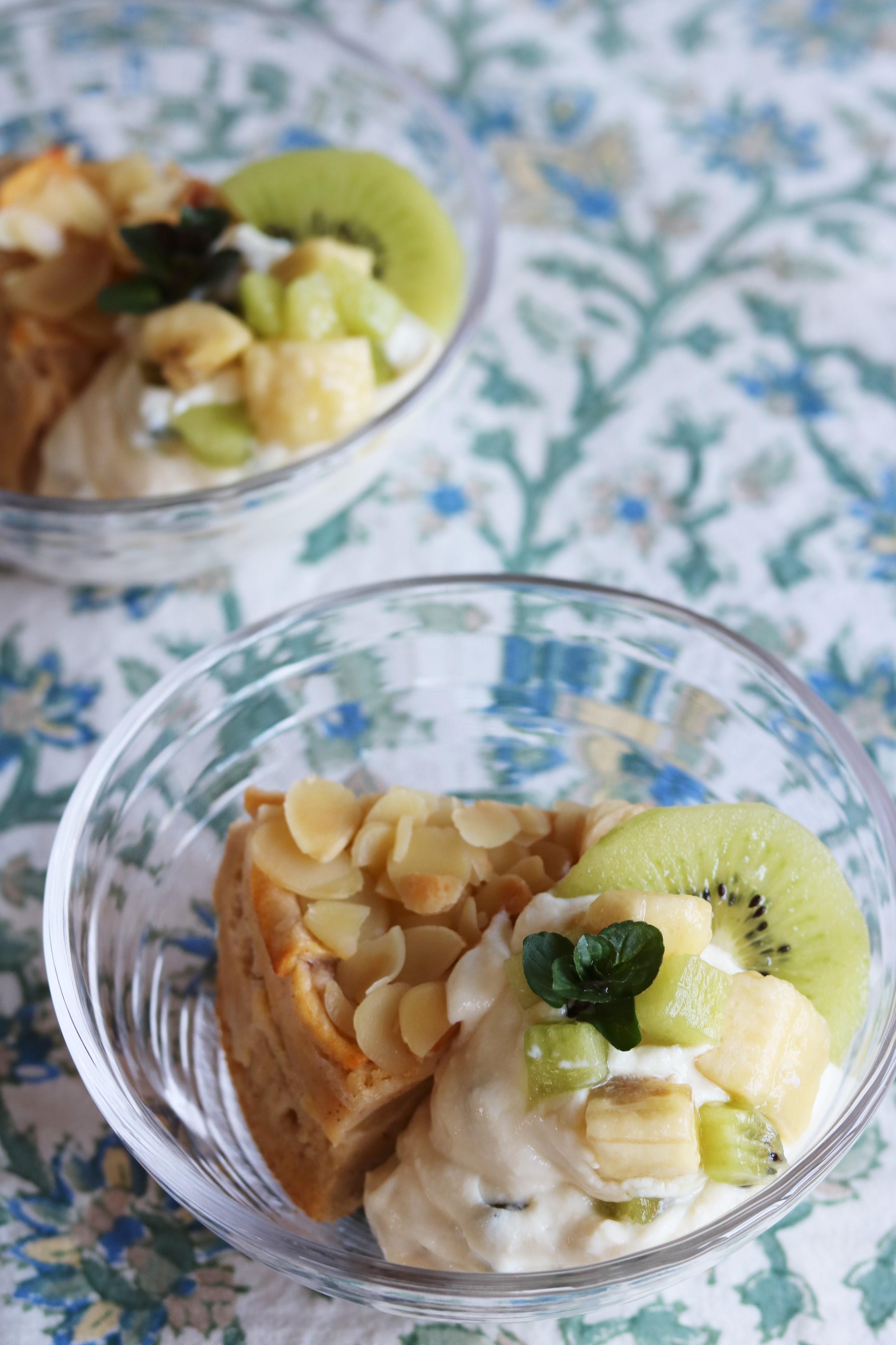 りんごのインビジブルとお豆腐クリームの盛り合わせ