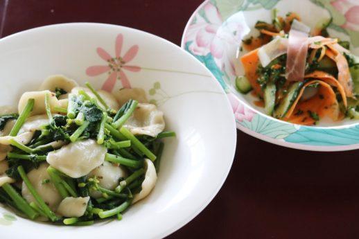 菜の花のオレキエッテとイタリアンサラダ