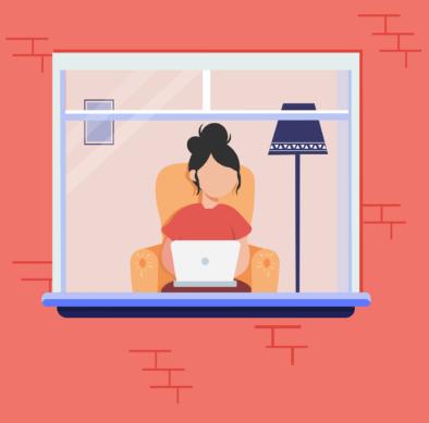 窓辺のオンライン学習イラスト