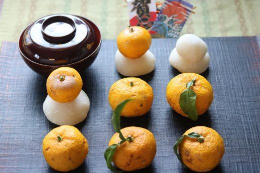 柚子と小さな鏡餅